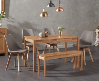 Oxford 120cm Solid Oak Dining Table with Demi Faux Leather Chairs and Oxford Bench