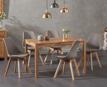 Oxford 120cm Solid Oak Dining Table with Demi Faux Leather Chairs