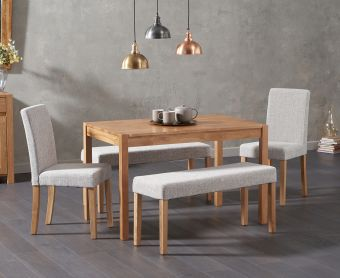 Oxford 120cm Solid Oak Dining Table with Mia Grey Benches and Mia Chairs