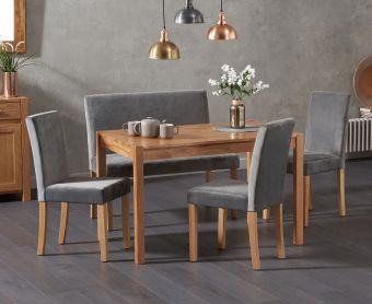 Oxford 120cm Solid Oak Dining Table with Mia Grey Velvet Benches with Backs and Mia Velvet Chairs