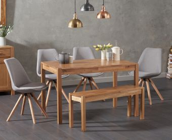 Oxford 120cm Solid Oak Dining Table with Ophelia Fabric Round Leg Chairs and Bench