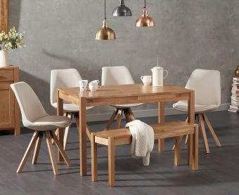 Oxford 120cm Solid Oak Dining Table with Ophelia Fabric Square Leg Chairs and Oxford Bench