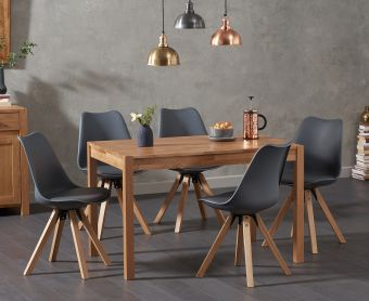 Oxford 120cm Solid Oak Dining Table with Ophelia Faux Leather Square Leg Chairs