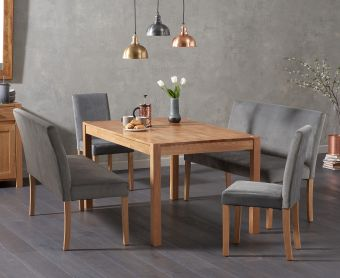 Oxford 150cm Solid Oak Dining Table with Mia Grey Velvet Benches with Backs and Mia Grey Velvet Chairs