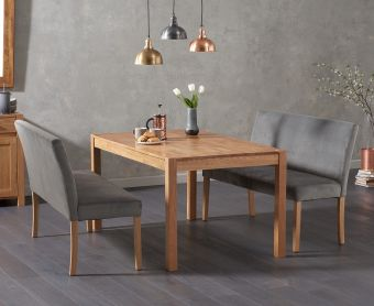 Oxford 150cm Solid Oak Dining Table with Mia Grey Plush Benches with Backs