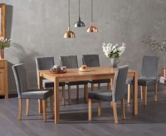 Oxford 150cm Solid Oak Dining Table with Mia Plush Chairs