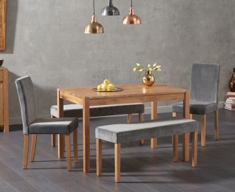 Oxford 150cm Solid Oak Dining Table with Mia Large Grey Plush Benches and Mia Grey Chairs