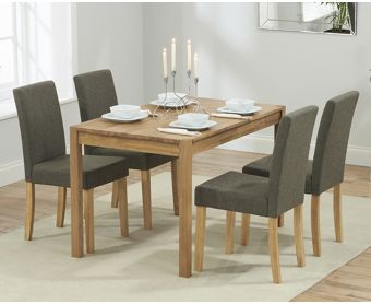 Oxford 120cm Solid Oak Dining Table with Brown Mia Fabric Chairs