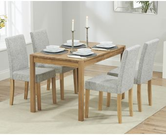 Oxford 120cm Solid Oak Dining Table with Grey Mia Fabric Chairs