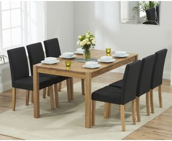 Oxford 150cm Solid Oak Dining Table with Black Mia Fabric Chairs