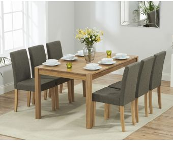 Oxford 150cm Solid Oak Dining Table with Brown Mia Fabric Chairs