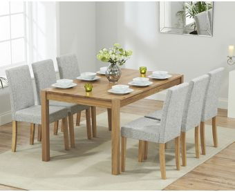 Oxford 150cm Solid Oak Dining Table with Grey Mia Fabric Chairs