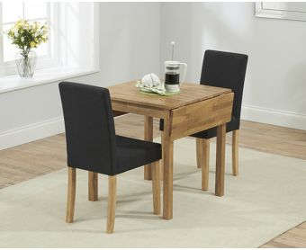 Oxford 70cm Solid Oak Extending Dining Table with Black Mia Fabric Chairs