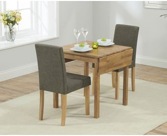 Oxford 70cm Solid Oak Extending Dining Table with Brown Mia Fabric Chairs