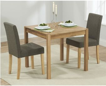 Oxford 80cm Solid Oak Dining Table with Mia Fabric Chairs