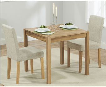 Oxford 80cm Solid Oak Dining Table with Black Mia Fabric Chairs