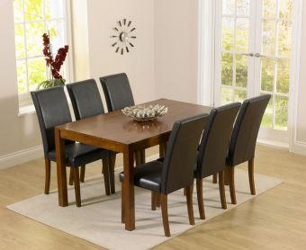 Oxford 150cm Dark Solid Oak Dining Set with Brown Albany Chairs