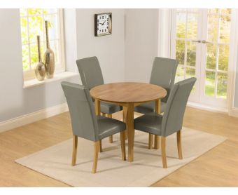 Oxford 90cm Solid Oak Drop Leaf Extending Dining Table with Albany Grey Chairs