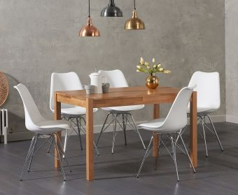 Oxford 120cm Solid Oak Dining Table with Calvin Chrome Leg Chairs