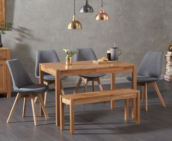 Oxford 150cm Solid Oak Dining Table with Demi Fabric Chairs and Oxford Bench