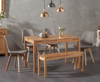 Oxford 150cm Solid Oak Dining Table with Demi Faux Leather Chairs and Oxford Bench