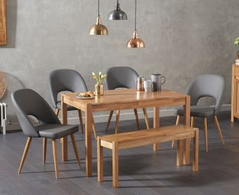 Oxford 150cm Solid Oak Dining Table with Harrogate Faux Leather Chairs and Oxford Bench