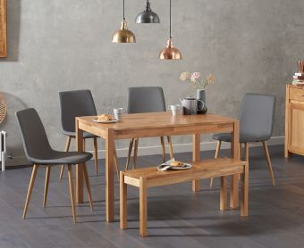 Oxford 150cm Solid Oak Dining Table with Hamburg Faux Leather Chairs and Oxford Bench