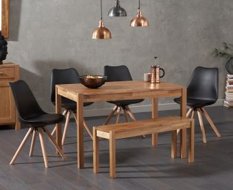 Oxford 150cm Solid Oak Dining Table with Ophelia Round Leg Faux Leather Chairs and Oxford Bench
