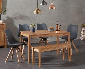 Oxford 150cm Solid Oak Dining Table with Ophelia Square Leg Faux Leather Chairs and Oxford Bench