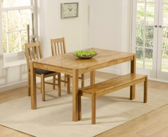 Oxford 150cm Solid Oak Dining Table with Benches and Oxford Chairs