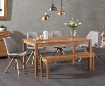 Oxford 150cm Solid Oak Dining Table with Ophelia Round Leg Fabric Chairs and Oxford Bench