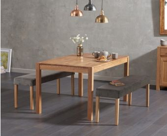 Oxford 150cm Solid Oak Dining Table with Mia Grey Velvet Benches