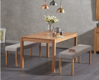 Oxford 150cm Solid Oak Dining Table with Mia Grey Benches