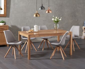 Oxford 150cm Solid Oak Dining Table with Ophelia Round Leg Fabric Chairs