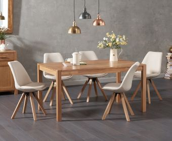 Oxford 150cm Solid Oak Dining Table with Ophelia Square Leg Fabric Chairs