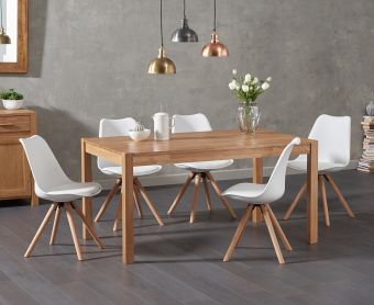 Oxford 150cm Solid Oak Dining Table with Demi Fabric Chairs