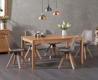 Oxford 150cm Solid Oak Dining Table with Ophelia Square Leg Faux Leather Chairs