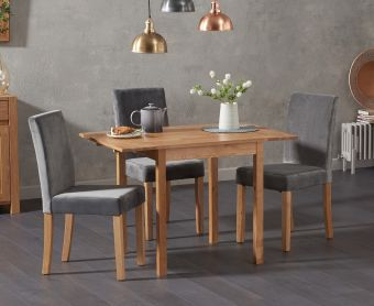 Oxford 70cm Solid Oak Extending Dining Table with Mia Grey Velvet Chairs