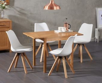 Oxford 70cm Solid Oak Extending Dining Table with Ophelia Faux Leather Square Leg Chairs
