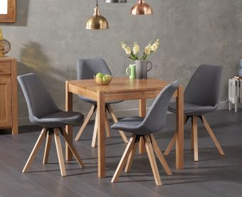Oxford 80cm Solid Oak Dining Table with Ophelia Fabric Square Leg Chairs
