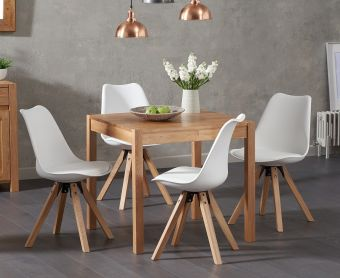 Oxford 80cm Solid Oak Dining Table with Ophelia Faux Leather Square Leg Chairs