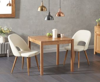 Oxford 80cm Solid Oak Dining Table with Harrogate Faux Leather Chairs