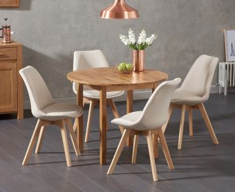 Oxford 90cm Solid Oak Drop Leaf Extending Dining Table with Demi Fabric Chairs
