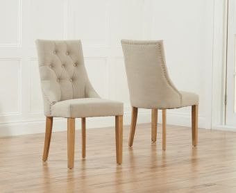 Pacific Beige Fabric Oak Leg Dining Chairs (Pairs)