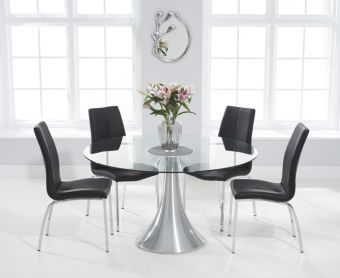 Paloma 135cm Round Glass Dining Table with Cavello Chairs