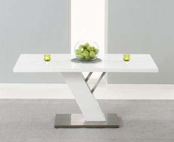 Palma 160cm White High Gloss Dining Table
