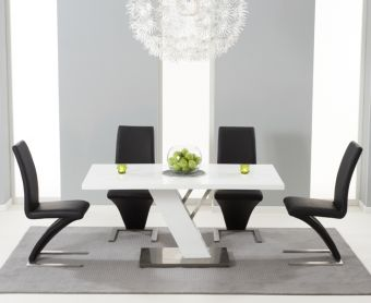 Palma 160cm White High Gloss Dining Table with Hampstead Z Chairs