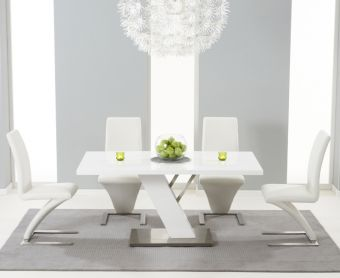 Palma 160cm White High Gloss Dining Table with Ivory-White Hampstead Z Chairs