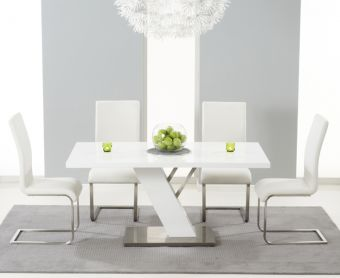 Palma 160cm White High Gloss Dining Table with Ivory-White Malaga Chairs