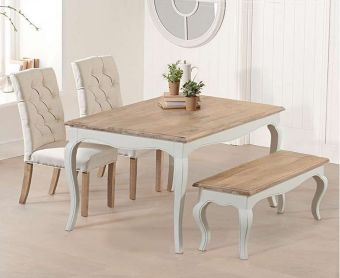 Parisian 130cm Shabby Chic Dining Table with Candice Chairs and Bench
